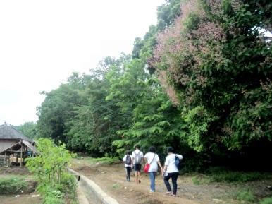 Menyisir pinggir dusun sebelum memasuki hutan adat